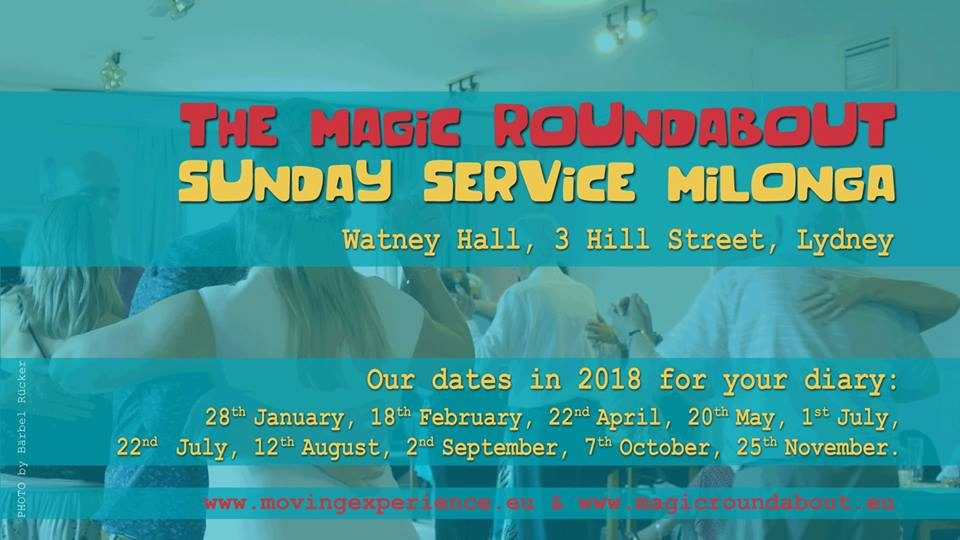 Magic Roundabout Sunday Service flyer 2018 dates.