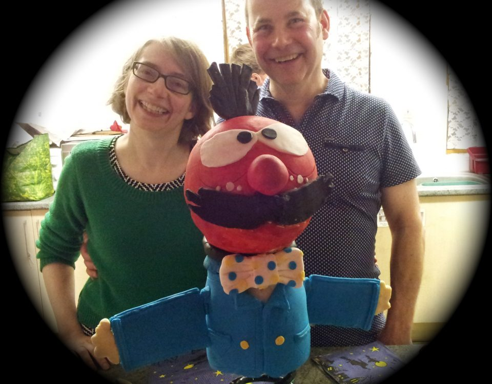 Magic Roundabout Zebedee cake with Paul and Baerbel.