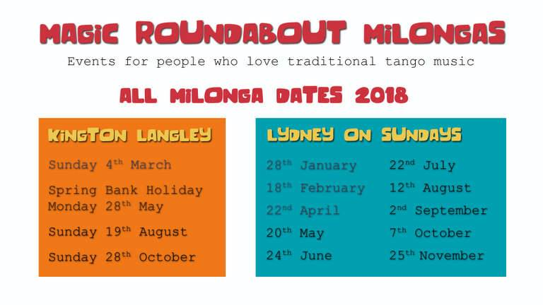 Magic Roundabout Milonga dates flyer 2018.